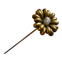 Beautiful and Rare French ART NOUVEAU 18k Gold Daisy Hatpin with Fresh Water Pearl