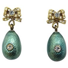 Vintage Faberge MMA Green Guilloche Enamel and Rhinestone Egg Earrings