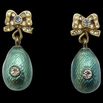 Vintage Faberge MMA Green Guilloche Enamel and Rhinestone Earrings