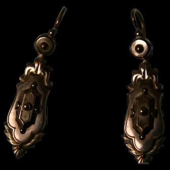 Antique French Napoleon III era GOLD Fix Pendant Earrings