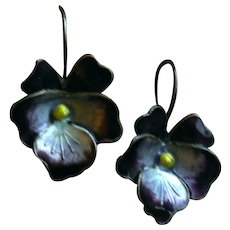 Vintage THOUSAND FLOWERS Enamel and Sterling Purple Pansy Earrings