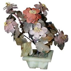 Beautiful Old Chinese Jade, Rose Quartz, Amethyst Gemstone Tree in Jade Pot