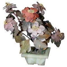 Beautiful Old Chinese Jade, Rose Quartz, Amethyst Gemstone Tree in Jade Pot