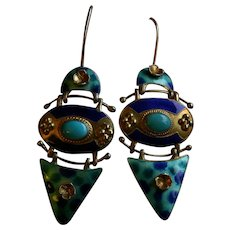 Inspirational Etruscan Revival Enamel Sterling Pendant Earrings by THOUSAND FLOWERS.. Gorgeous!