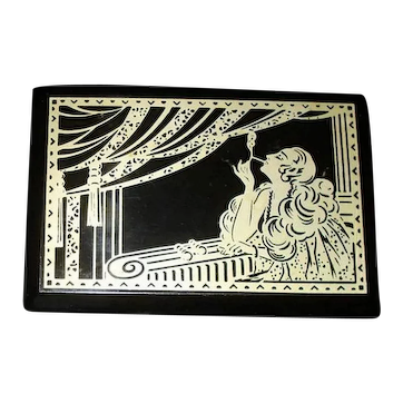 Fantastic French ART DECO Box with Lady Smoking at the Opera