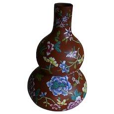 Magnificent Chinese YIXING Zisha Ware Polychrome Enamel Double Gourd Vase