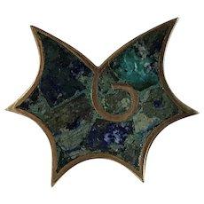 Scarce Mid Century Modernist LOS CASTILLO Mexican Mosaic Conch Shell Brooch