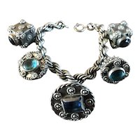 Fantastic Antique EGYPTIAN Silver Jeweled Charm Bracelet