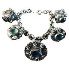 Fantastic Antique EGYPTIAN Silver Jeweled Charm Bracelet