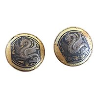 Spectacular Pair of Spanish Damascene Cufflinks with Magical Dragon