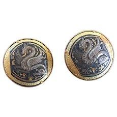 Spectacular Pair of Spanish Damascene Cufflinks with Magical Dragon