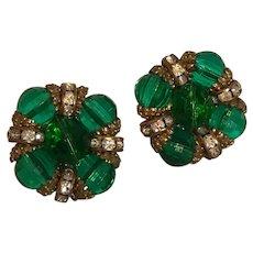 Classic HATTIE CARNEGIE Emerald Green Rhinestone Rondelle Clip On Earrings