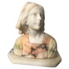 Lovely Antique ART NOUVEAU Alabaster Bust of Jeanne D'Arc by Bessi
