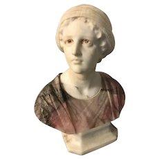 Exquisite Antique Alabaster Bust of Giuditta (Judith) by Professor G. Bessi