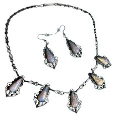 Fantastic Vintage 1940s Mexican foiled Opal Art Glass Necklace and matching Earrings in Sterling Silver