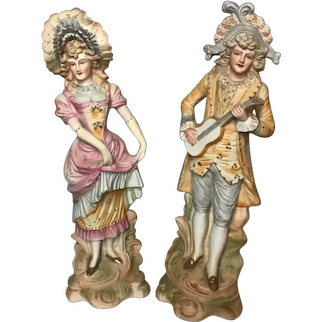 Lovely Pair of ANTIQUE BISQUE figurines 18th C. French Lady and Gentleman Courtiers