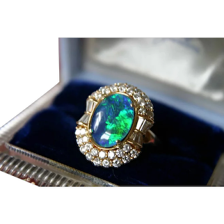 Gorgeous Diamond and Opal Cocktail Ring in 18K Gold