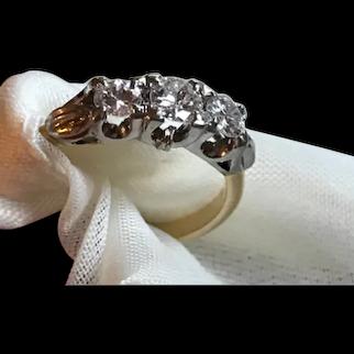Beautiful Art Deco Three Stone .90 Carat Diamond Ring in Platinum and 18k Gold