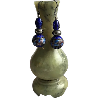 Chinese Dangle Earrings with Antique Cloisonne and Cobalt Beads in Sterling