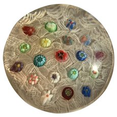 Parabelle Scattered Millefiori Art Glass Paperweight