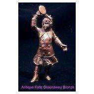 Rare Austrian Miniature Bronze Victorian Girl Playing tambourine