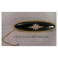 Stunning Victorian Onyx, Seed Pearl & Gold Star Brooch