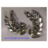 Glitzy Vintage AUSTRIAN Rhinestone Spray Earrings