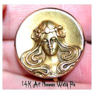 Lovely ~ART NOUVEAU~ 14K Gold Watch Pin w/ Mucha Maiden