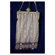 Antique Jeweled Frame Microbeaded Carpet Design Handbag Purse