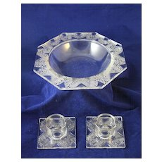 Art Deco LALIQUE CHANTILLY Console Bowl and Candle Holders