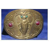 *ART NOUVEAU* Peacock Eye Foil Glass Buckle w/ Beetle