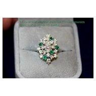 Breathtaking ESTATE Diamond & Emerald Cocktail Ring