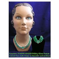 Vintage JOSEPH MAZER Jade Green Peking Glass and Pearl Demi-Parure