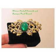 Breathtaking MIRIAM HASKELL Baroque Seed Pearl & Emerald Brooch