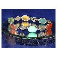 Sweet Vintage Chinese Multi-Gem Bracelet Jade Carnelian...