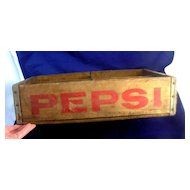 Antique Advertising PEPSI Wooden Crate Case