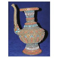 Exceptional Vintage Eastern Jeweled Kendi Tea or Coffee Pot