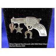 Whimsical Vintage Mexican Silver Gun Pistol Brooch