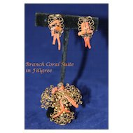 Fanciful Vintage  Branch Coral Demi Parure.. Earrings and Brooch