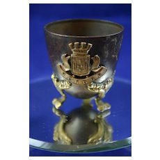 French Art Nouveau Antique Bronze Egg Cup from Verdun