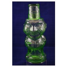 Very Rare Antique Figural Blown Glass Decanter of Old Man by Indiana Glass