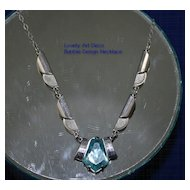 Architectural  ART DECO Bubble Design Necklace with Aqua Stone
