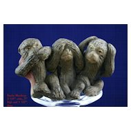 Antique Japanese Bankoware Evil Monkey Figural Group