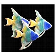 Colorful Guilloche Enamel Brooch with Three Tropical Angel Fish