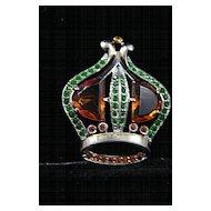 Colorful Vintage Jeweled Sterling Crown Brooch