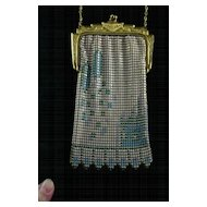 Lovely ART DECO Whiting and Davis Enameled Mesh Handbag