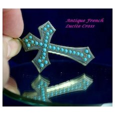 Fascinating French  Lucite Cross with Turquoise