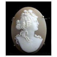 Lovely Antique Carved Shell Cameo of  Classical Roman Bride