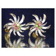 Gorgeous Vintage Starburst Rhinestone Earrings by ACT