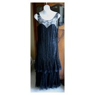 Stellar French Deco Flapper Dress in Fine Black Lace with Double Flounce